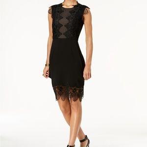 Ivanka Trump Lace Appliqué Sheath Black Dress